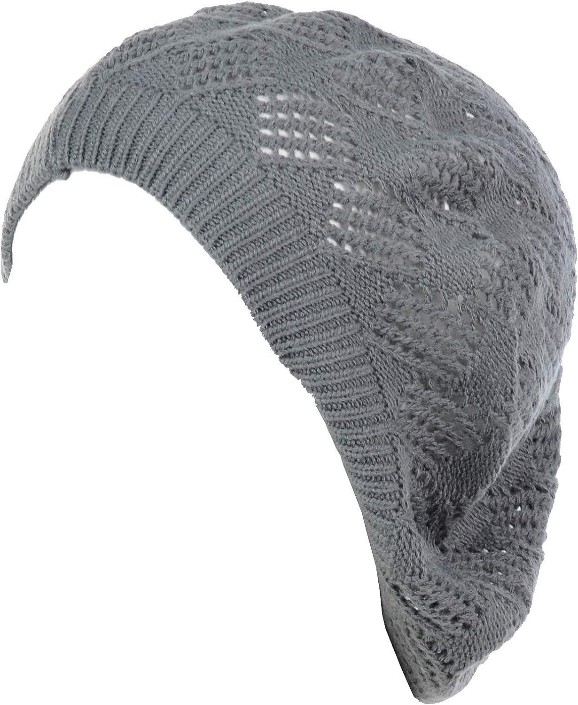 an Womens Crochet Hat Flower Beanie Beret Fashion Accessory Lightweight Knit Cap