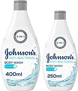 JOHNSON'S, Body Wash, Anti-Bacterial, Sea Salts, 400 ml + 250 ml