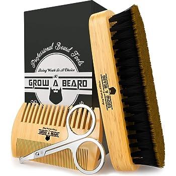 Beard Brush & Comb Set w/ Beard Scissors Grooming Kit, Beard Brush For Men, Natural Boar Bristle Beard Brush, Men's Beard Brush, Boars Hair Beard Brush, Beard Brush Set, Wood Comb Great for Mustaches