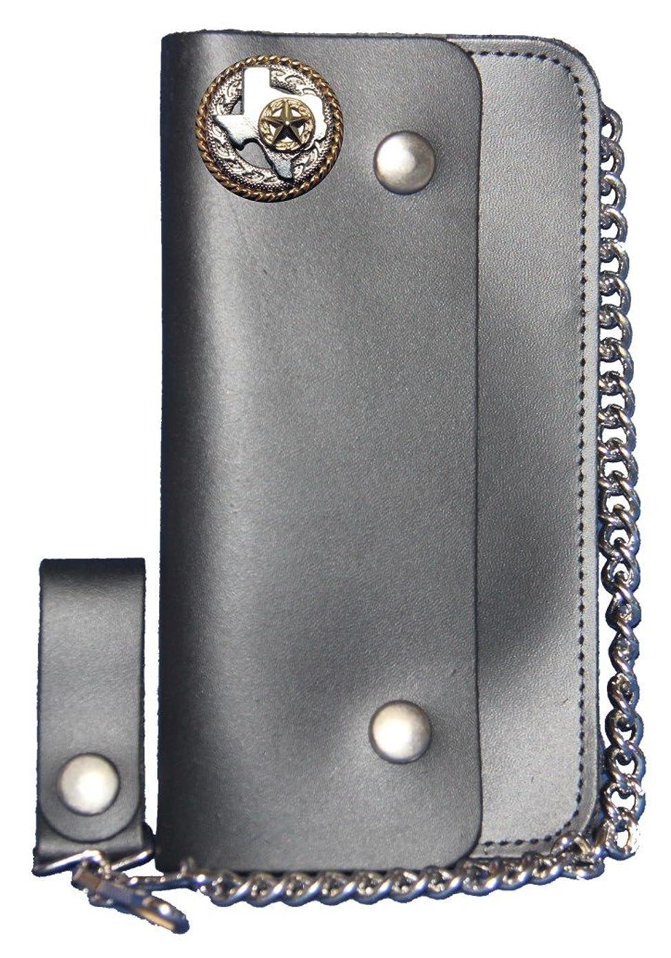 後見落とす種類カスタムTexasロープand Star Longブラックチェーン財布。Made In USA