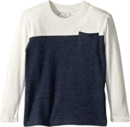 Super Soft Two-Toned Blocked Long Sleeve Crew Neck Pocket Tee (Toddler/Little Kids)
