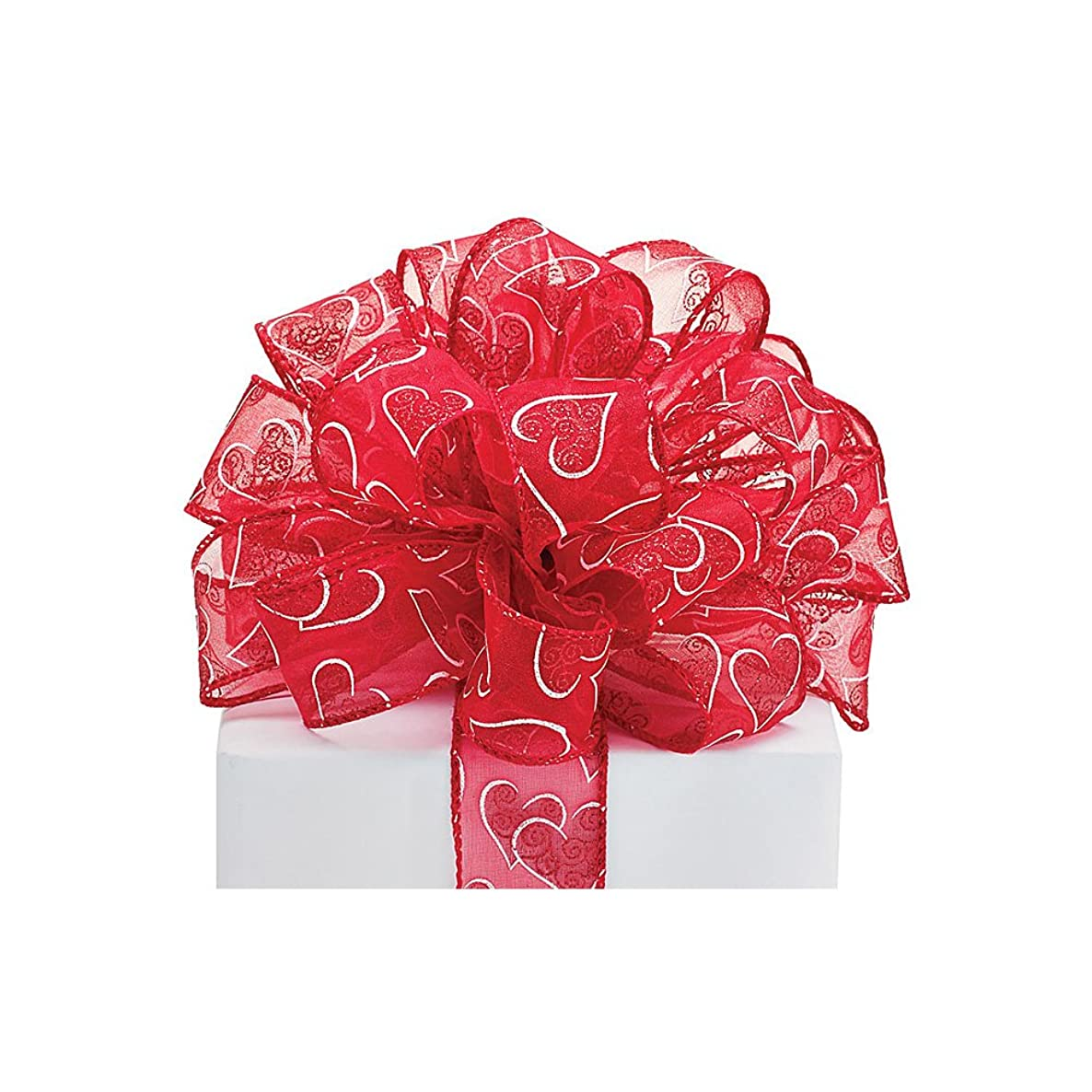 #9 red wired sheer ribbon with white heart outlines and red glitter. 1 1/2