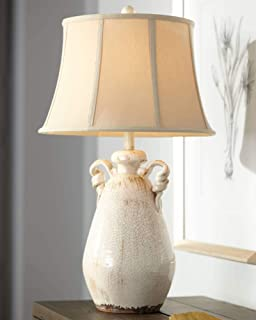 Isabella Cottage Accent Table Lamp Rustic Ivory Ceramic Milk Jar Crackle Beige Bell Shade for Living Room Family Bedroom - Regency Hill