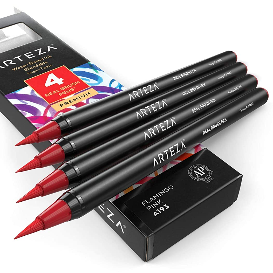 ARTEZA Real Brush Pens (A193, Flamingo Pink) Pack of 4, for Watercolor Painting with Flexible Nylon Brush Tips, Paint Markers for Coloring, Calligraphy and Drawing