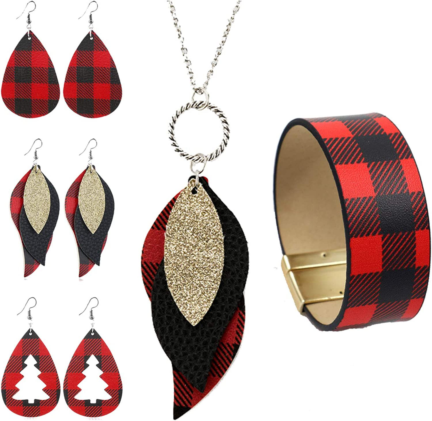 FUTIMELY 5 Pcs Christmas Buffalo Plaid Jewelry Set Gifts for Women Girls,Christmas Red Plaid Earrings Bracelet,Faux Leather Plaid Print Dangle Earrings and Necklace Set
