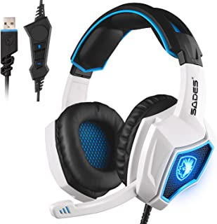 Newest SADES Spirit Wolf USB Over Ear Computer Gaming Headset with Vibration Effect,Hidden Microphone,Noise Isolating Volume Control LED Light for PC Gamers (Black White)