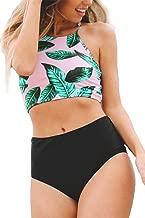 Seaselfie Women's Leaves Printing High-Waisted Halter Swimwear Beach Bikini