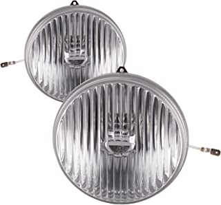 PERDE Chrome Housing Stock Clear Lens 2 Piece Fog Lights Compatible with Ford Mustang 1987-1993 Includes Left Driver and Right Passenger Side Fog Lights