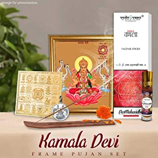 Vedic Vaani Goddess Kamala Lakshmi Devi MATA Mahavidya | Goddess Kamala Maa Yantra Pujan Shakti Set for Pooja|Ten (Dus) Mahavidyas-mahayantara|
