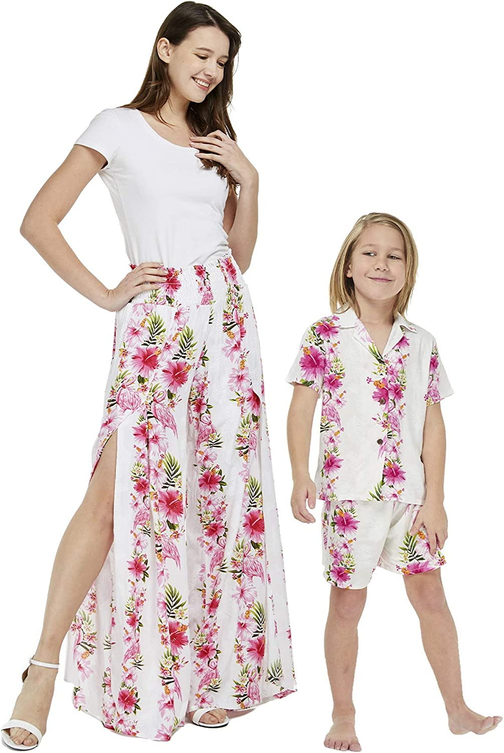 Matching Mother Max 79% OFF Son Hawaiian Luau We OFFer at cheap prices Outfit Whi Shirt Pink Pants in