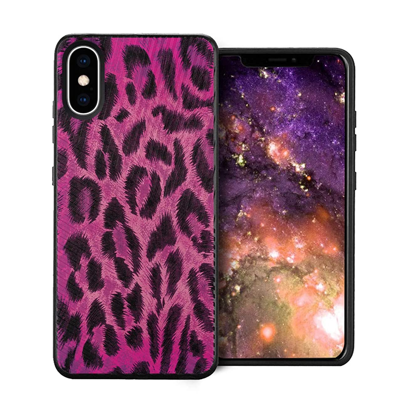 Capsule Case Compatible with iPhone Xs Max [Embossed Diagonal Lines Hybrid Dual Layer Slim Armor Black Case] for iPhone Xs Max - (Leopard Pink)