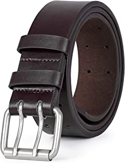 Double Prong Leather Belt Heavy Duty Belt for Men, Double Grommet Holes Belt for Pants