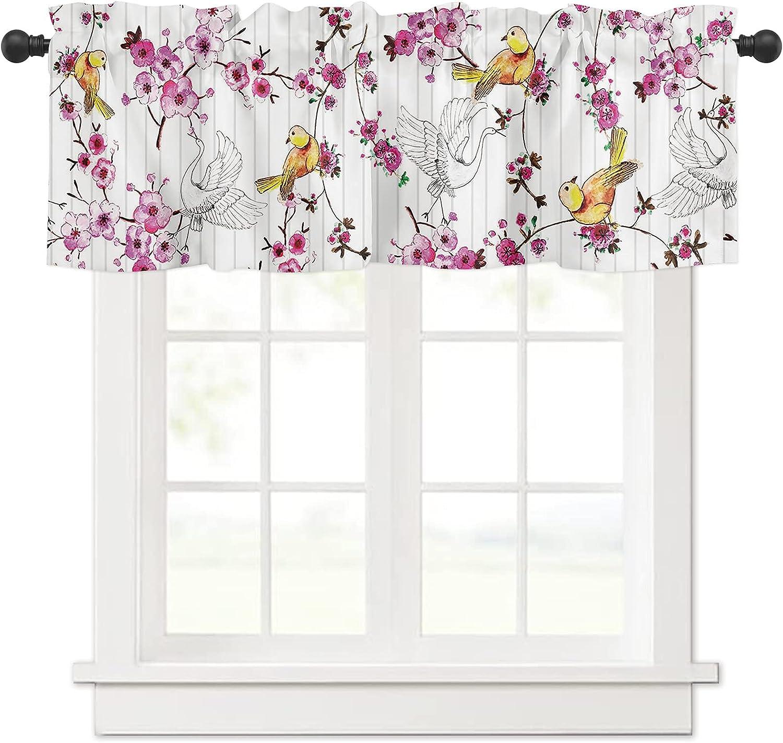 Pink Floral Crane Bird Curtain Valances 2021 model Ti for Treatment Latest item Windows