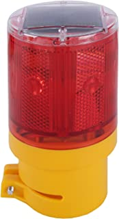 Qooltek Solar Powered Emergency LED Strobe Warning Light Wireless Garden Lamp Flashing Barricade Safety Sign Road Construction Signs Flash Traffic Lights Flicker Beacon Lamps (Red)