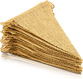 LEOBRO 48 Pcs Burlap Banner, 36 Ft Triangle Flag,DIY Decoration for Holidays, Wedding, Camping, Party and Any Occasion Shipping by FBA