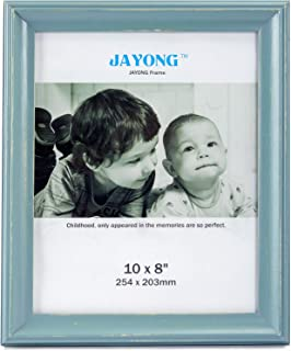 JAYONG 8x10 Picture Frame Made of Solid Wood and High Tempered Glass Elegant Tabletop Photo Display Picture Frame for Wall Mount Photo Frame Back Panel Curved Edges Flat Frame Mediterranean Blue