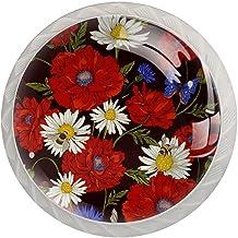 Lade handgrepen trekken ronde kristallen glazen kast knoppen keuken kast handvat,papaver bloemen bloei3