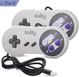suily Wired USB Controller for SNES NES Emulator Gaming, 2 Pack Classic SNES Gamepad Joystick Compatible with Windows PC(Vista/Win7/8/8.1/10 or Later) /Mac (OS X 10.0 or Later)/All Raspberry Pi Models