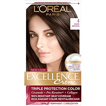 Amazon Com L Oreal Paris Excellence Creme Permanent Hair Color 4 Dark Brown 100 Gray Coverage Hair Dye Pack Of 1 Chemical Hair Dyes Beauty,Best Color Paint For Bedroom Walls