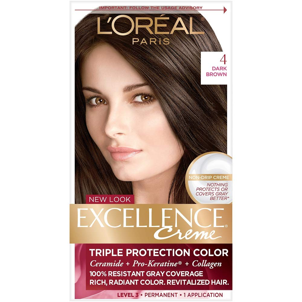 L'Oreal Paris Excellence Creme Permanent Hair Color, 4 Dark Brown, 100% Gray Coverage Hair Dye, Pack of 1