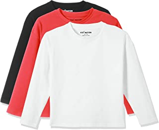 Kid Nation Kids 3 Pack and 2 Pack Short Boxy Solid Long Sleeve Crew Neck T-Shirts for Boys or Girls