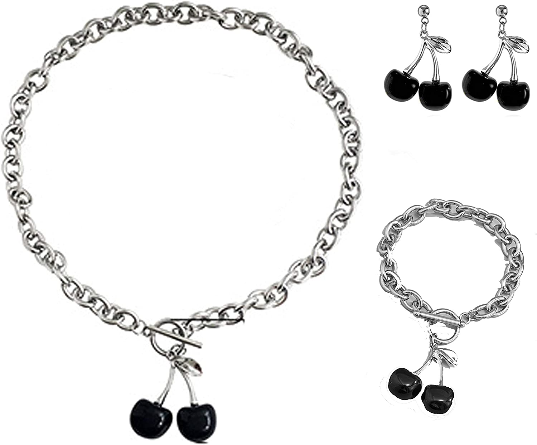 Punk Sweet Cherry Pendant Necklace Bracelet Set Vintage Harajuku Adjustable Link Chian Choker Necklace Stud Earrings Bangle Bracelet Hip Hop Party Accessories for Women Girls Jewelry