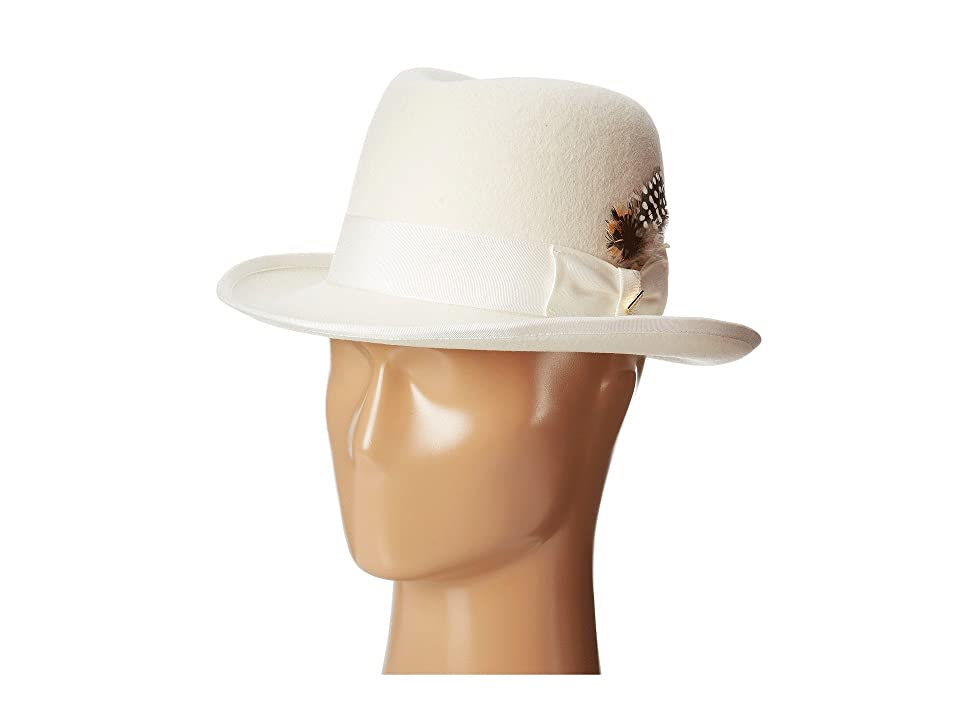 Stacy Adams Homburg Wool Felt Hat w/ Grosgrain Band (Ivory) Fedora Hats