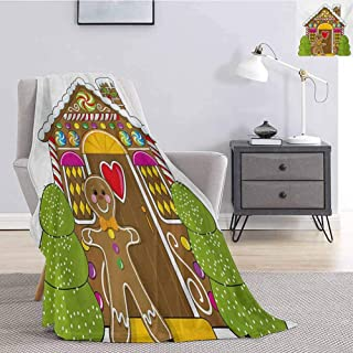Luoiaax Gingerbread Man Faux Fur Blanket Warm Cozy Cute Gingerbread House with Colorful Candies Cookie Man Graphic Figure Soft Warm Plush Blanket W60 x L80 Inch Multicolor