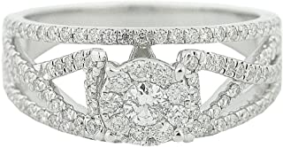 3/4Ct Diamond Bridal Wedding Ring 10K White Gold Split Shoulder Woven(0.75cttw)