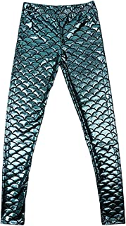 D DOLITY Mermaid Leggings Women Shiny Fish Scale Liquid Stretchy Pants S
