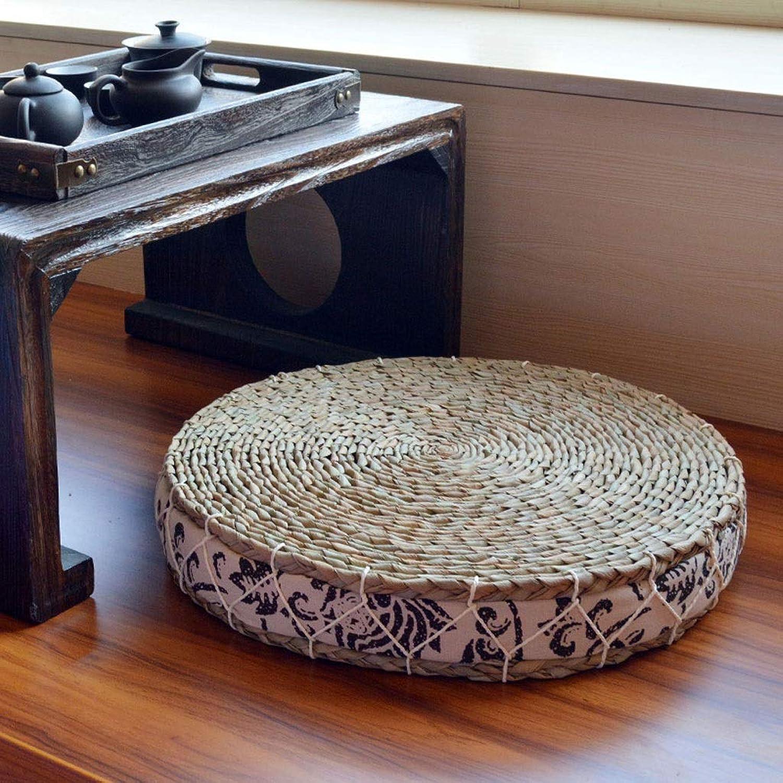 RXY-Wicker chair Tea Ceremony Straw Cold Rain Window Mat, Meditating Futon Cushion, Thick Floor Yoga Cushion (color   A, Size   50x6cm)