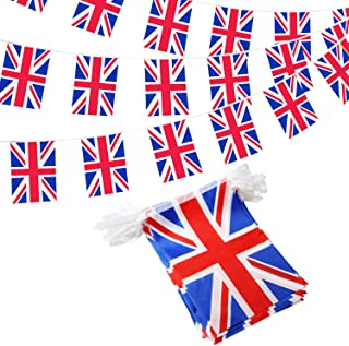 Anley UK String Pennant Banners - Patriotic Events Birthday of Her Majesty Queen Elizabeth Decoration Sports Bars - 33 Feet 38 Flags