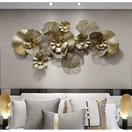 AJ Decor Metal Wall Art Iron Wall Hanging Home Decoration Perfect for Living Room/Hotel/Restaurant/Bedroom/Drawing Room (Color : Golden) (Size: 52 X 24 INCH)