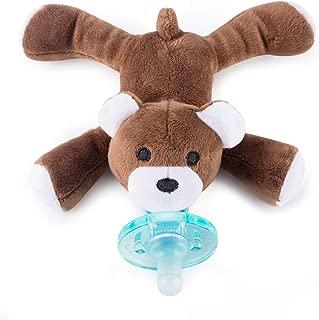 Baby Pacifier Holder Detachable Binky Plush Stuffed Animal Toy BPA Free for Newborn Boy Girl + Soothie Case + Gift Box (Bear)