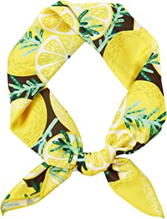 جيرنلي لطيف باندانا للنساء فاكهة مطبوعة مربعة وشاح الشعر عقال اكسسوارات الصيف