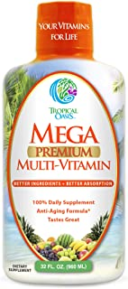 Mega Premium Liquid Multivitamin | Natural Immune Support Vitamin w/ 1333% Vitamin C, 200% D3, Zinc + 20 Vitamins, 70 Mine...