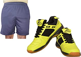 FOOTFIX Men's Squash Yellow (Non Marking) Gym, Badminton Sports Shoes with Free Blue Shorts