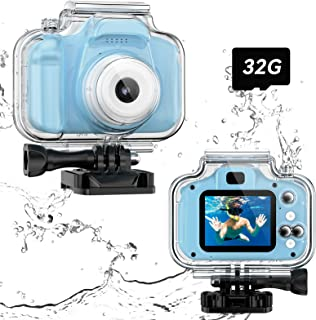 Children Underwater Camera, Upgrade Kids Waterproof Sports Camcorder, Christmas Birthday Gifts Toy for 3 4 5 6 7 8 9-Years-Old Boys, Toddler Digital Action Camera HD 1080P with 32GB SD Card (Blue)
