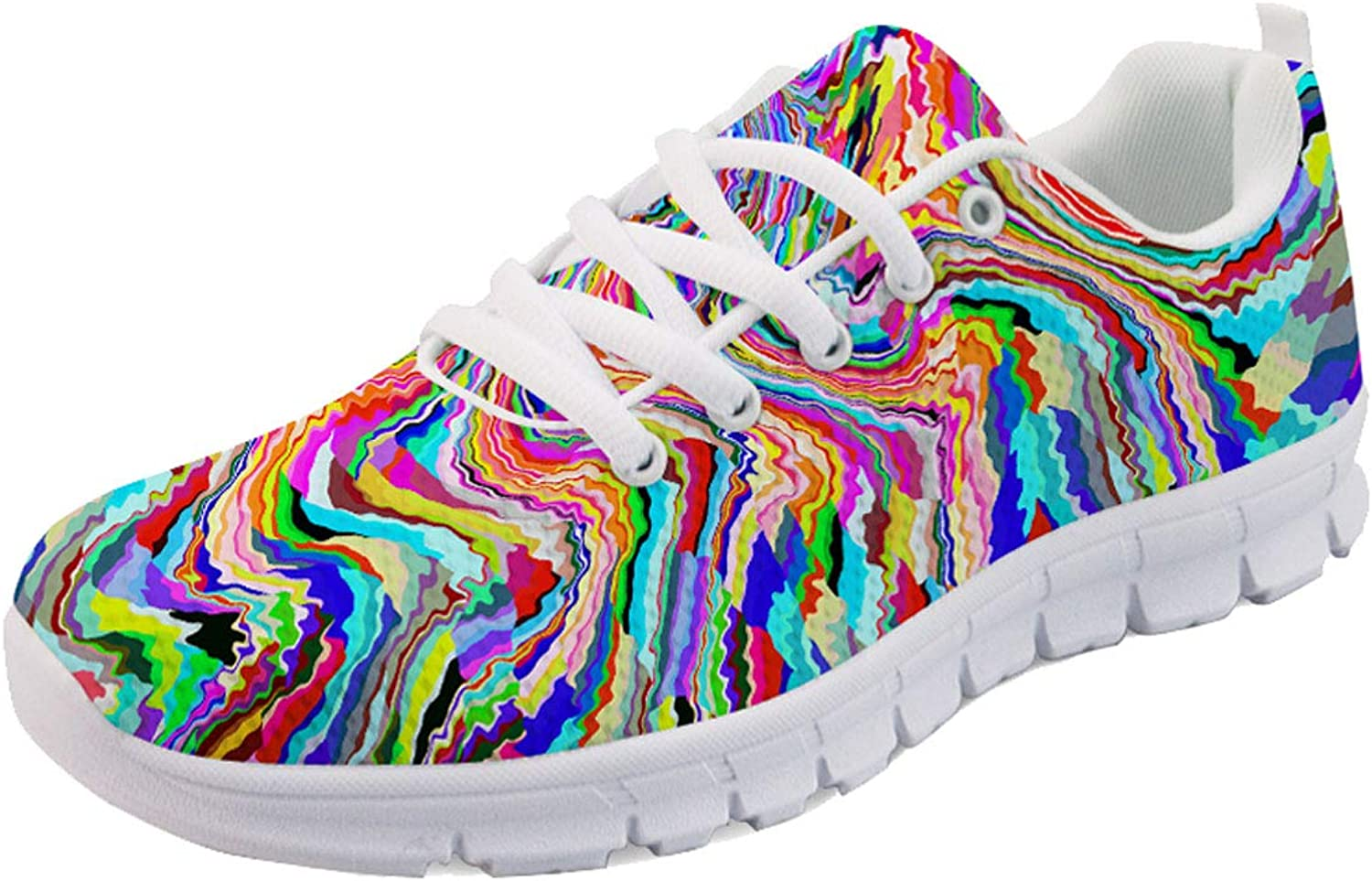 Nopersonality Women's Lightweight Walking shoes Fashion Sneakers colorful Stripe Printing