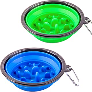 STARUBY 2 Pack Collapsible Dog Bowl, Slow Feed Dog Bowl, Foldable Pet Travel Bowl, Portable Slow Feeder Cat Bowl, for Outdoor Camping Pet Food Water Feeding Large Size Green and Blue