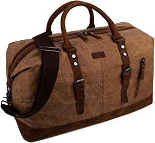 Waxed Canvas Leather Travel Duffel Bag Carry on Weekender Oversized Overnight Bag HB-14 (Coffee)