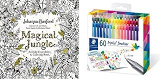 Staedtler triplus fineliner triangular set of 60 brilliant colors + Magical Jungle: An Inky Expedition and Coloring Book f...