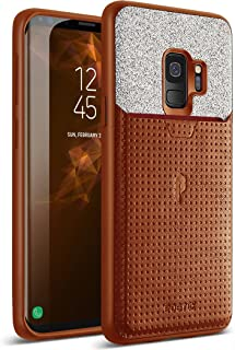 Galaxy S9 Credit Card Case, Poetic Nubuck [Credit Card Slot][Pull-Tab] Credit Card ID Slot Case - Stylish Thin TPU + Premium Leather Back Case for Samsung Galaxy S9 Brown