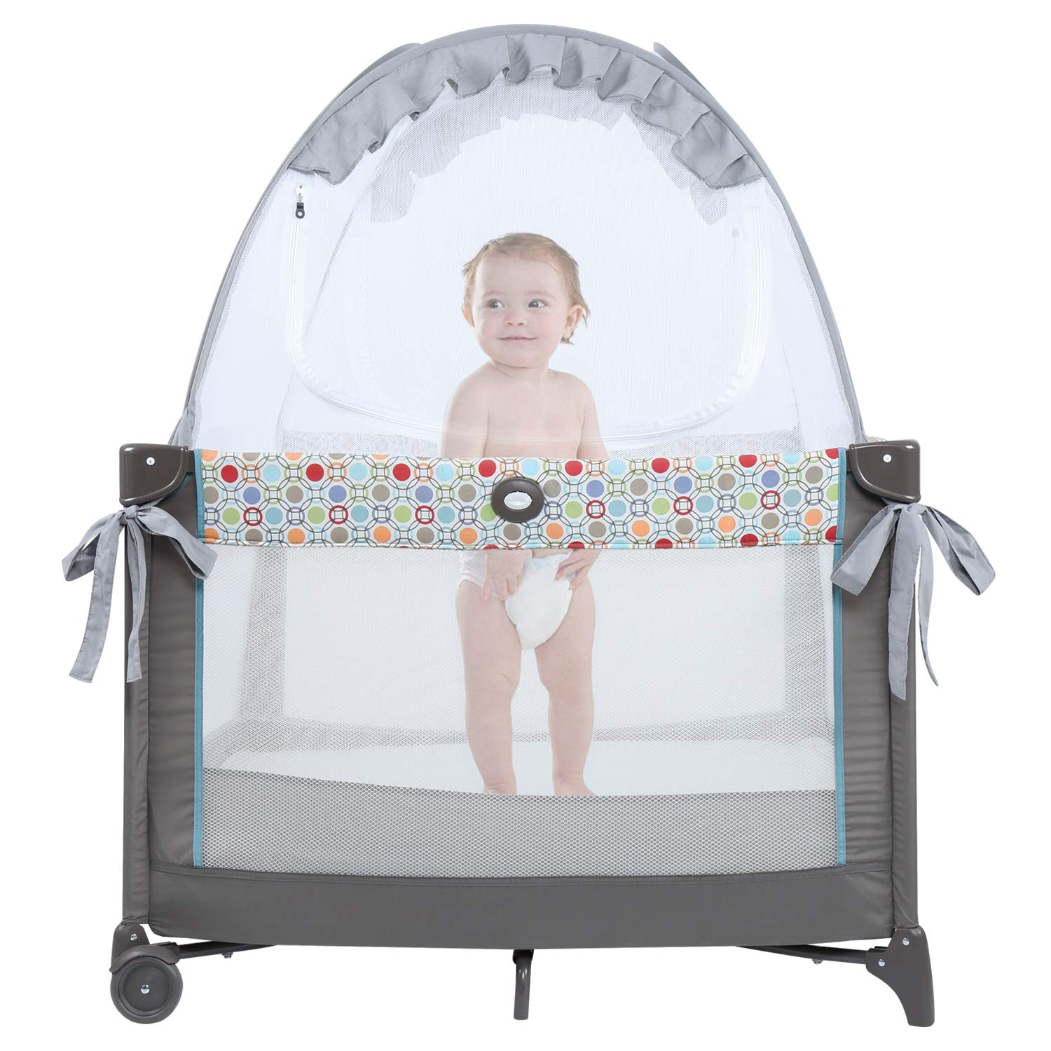 Minnebaby Pack N Play Tent, Keep Baby from Climbing Out, Mini Crib Safety Mesh Canopy, Play Yard Tent Cover, See Through and Breathable, Against Cats and Mosquitoes