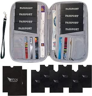 8 Multiple Passport Document Family Travel Holder Wallet Organizer w/RFID Blocking & Removable Wrist Strap