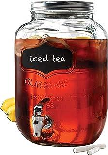 Circleware Chalkboard Sun Tea Mason Jar Beverage Dispenser, Fun Party New Entertainment Home Kitchen Glassware Pitcher for...