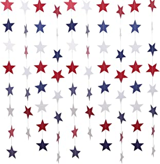 Livder 8 Pack Red White Blue Star Paper Garland Banners Hanging for July 4th American Patriotic Day Holiday Party Birthday Decoration