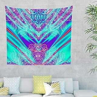 weedlishop Lotus Tepestry Wall Hanging Flower Indian Boho Blue Stripe Purple Psychedelic Enthic Decor Bedroom Living Room Dorm