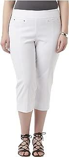 Simply Emma Women's Plus Stretch Capri Pants. Size: 24W. Color: White.