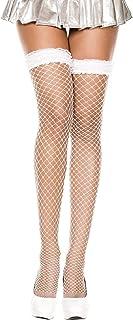 MUSIC LEGS Women's Lace Ruffle Spandex Mini Diamond Net Thigh Hi